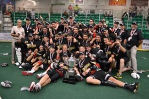 Wilde and the Whitby Warrirors pose after winning the 2011 Minto Cup in Okotoks, AB