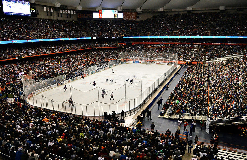 "Source: syracuse.com ""Hockey fans pack the Carrier Dome for the Syracuse/Utica Frozen Dome Classic in Syracuse, N.Y., Saturday, Nov. 22, 2014. Kevin Rivoli 
