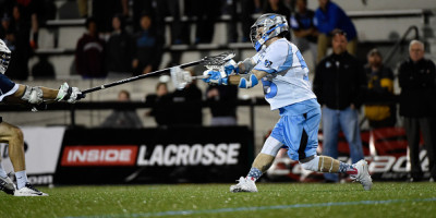 BALTIMORE, MD - APRIL 11:  Joel Tinney #55 of Johns Hopkins scores the winning goal in double over time at Homewood Field on April 11, 2015 in Baltimore, Maryland.  (Photo by Kevin Mazur/Getty Images)