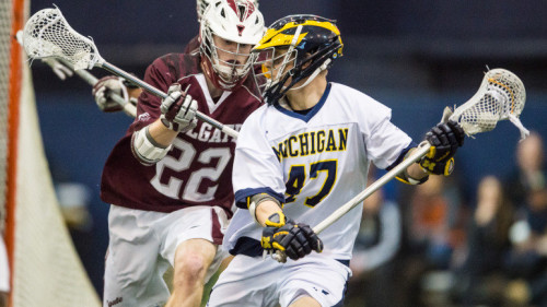 The University of Michigan men's lacrosse team defeats Colgate, 9-8, at Oosterbaan Fieldhouse in Ann Arbor, Mich., on Feb. 14, 2016.
