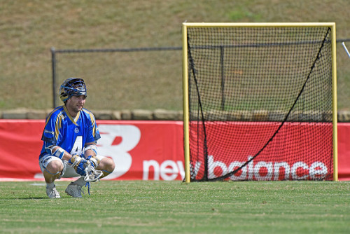 CHARLOTTE, NC - JULY 11: Mike Sawyer #4 of the Charlotte Hounds reacts after scoring a goal against the Florida Launch during their game at American Legion Memorial Stadium on July 11, 2015 in Charlotte, North Carolina. (Photo by Grant Halverson/Getty Images)
