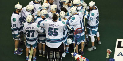 The Rochester Knighthawks celebrate their 9-8 victory over the Toronto Rock on January 28, 2017 at the Air Canada Centre. (Photo credit: Anna Taylor)