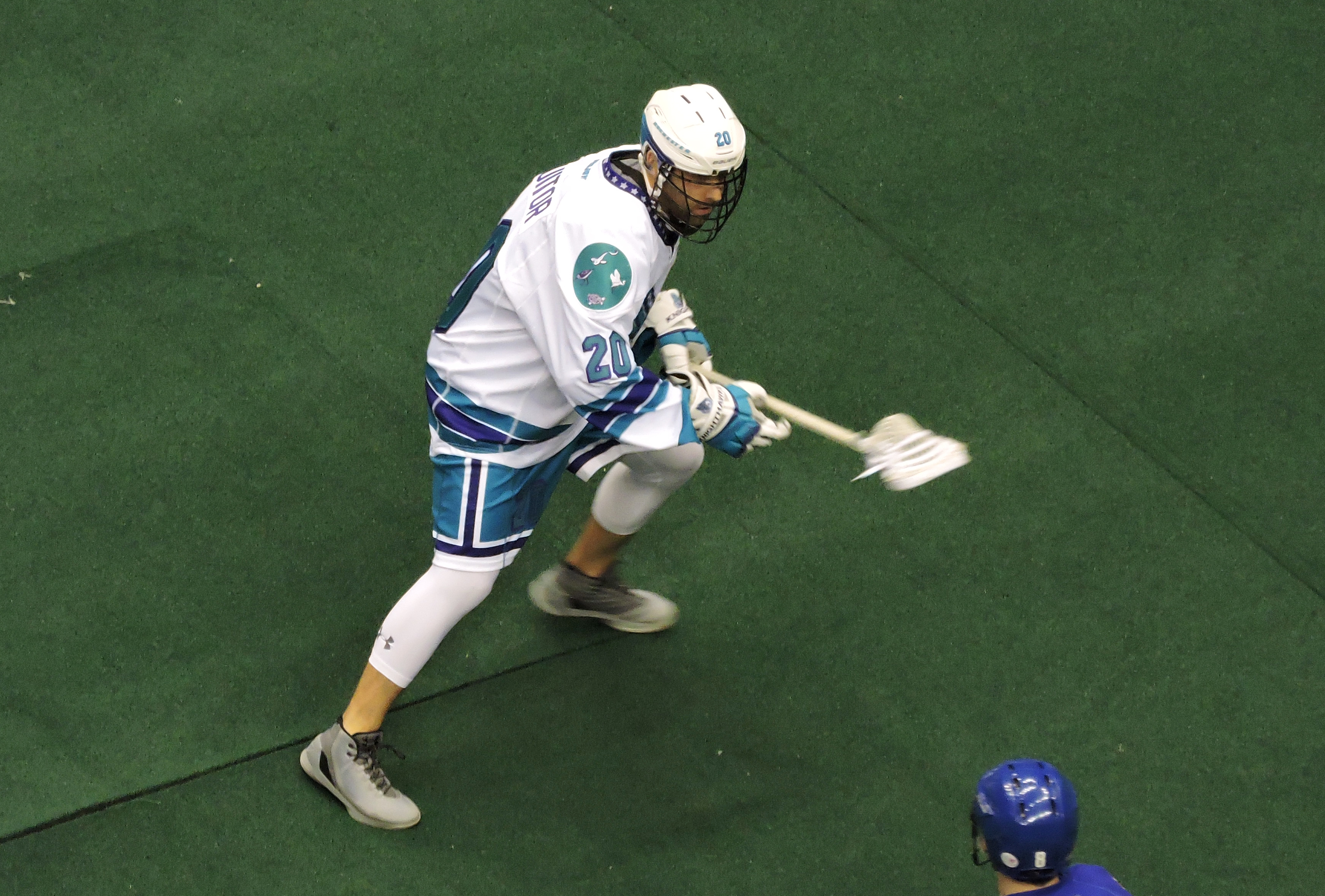 Andrew Suitor plays in his first game for the Rochester Knighthawks on January 28, 2017 (Photo credit: Anna Taylor)