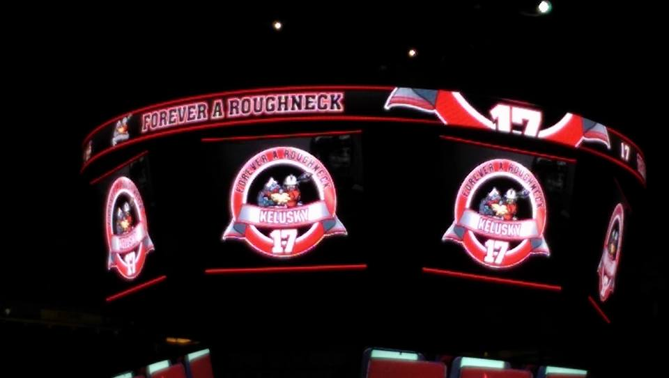 The Calgary Roughnecks honoured Tracey Kelusky as part of their Forever A Roughneck program on March 25, 2017. (Photo credit: Katherine Duncan)