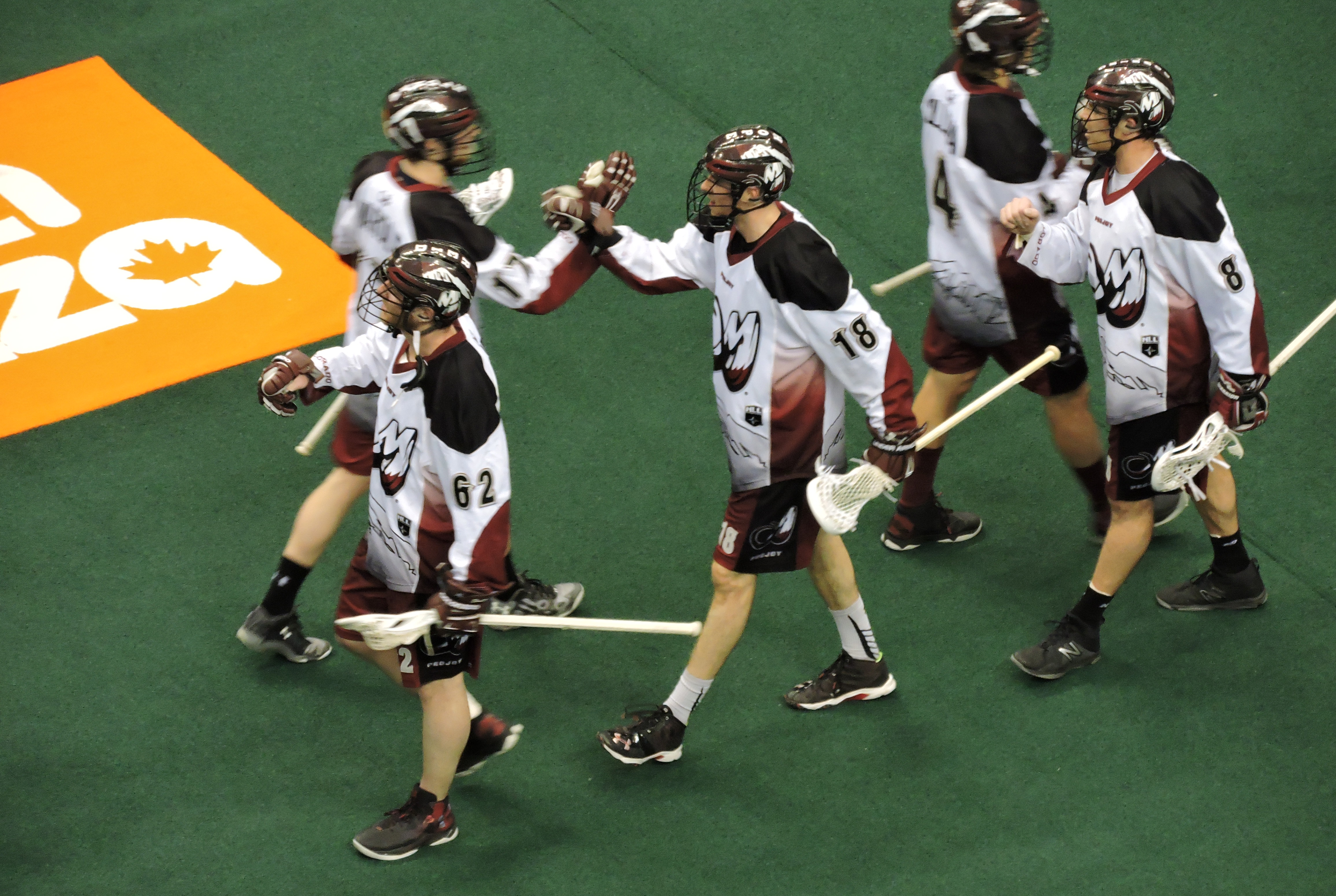 Defensemen Robert Hope (18) celebrates a 14-11 win over the Toronto Rock with his Colorado Mammoth teammates at the Air Canada Centre on March 17, 2017. (Photo credit: Anna Taylor)