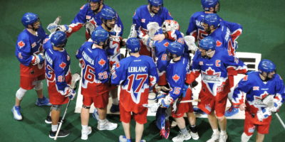 The Toronto Rock celebrate their 13-7 win over the Vancouver Stealth on March 25, 2017 at the Air Canada Centre. (Photo credit: Anna Taylor)