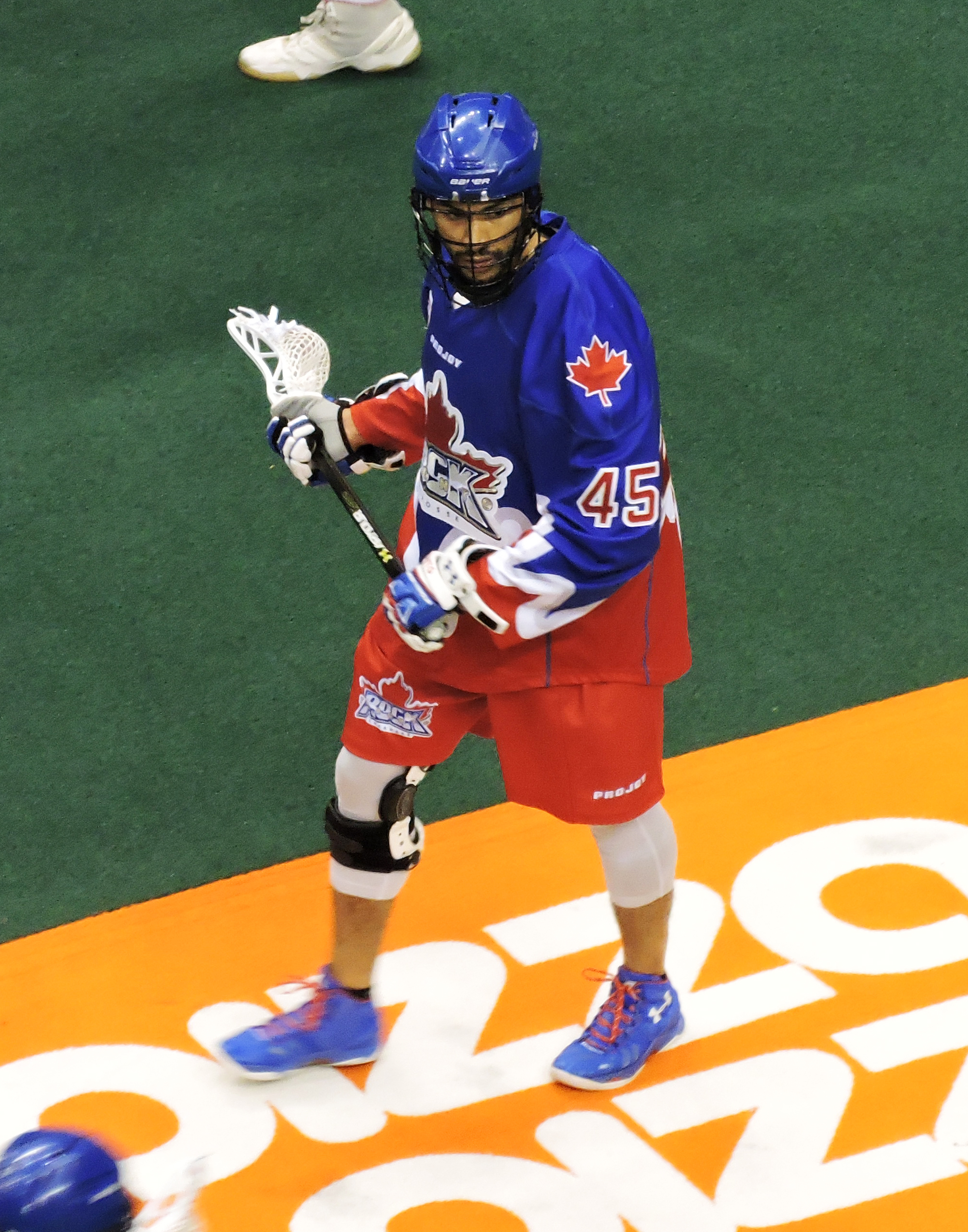 Damon Edwards had two goals for the Rock in their east division semi-final against the New England Black Wolves on May 6, 2017. (Photo credit: Anna Taylor)