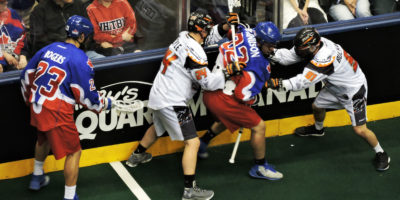 The Toronto Rock and New England Black Wolves clash in their east division semi-final at the Air Canada Centre on Saturday, May 6, 2017. (Photo credit: Anna Taylor)