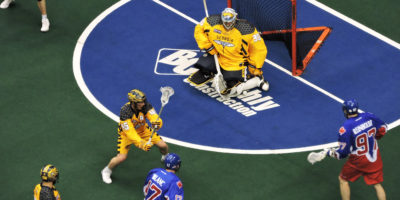 Mike Poulin of the Georgia Swarm makes a save against the Toronto Rock in the east division semi-final on May 13, 2017 at the Air Canada Centre. (Photo credit: Anna Taylor)