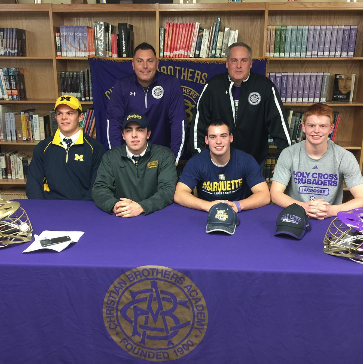 Ric Beardsley with some of his athletes on National Letter of Intent Day. (Photo: Ric Beardsley Instagram)