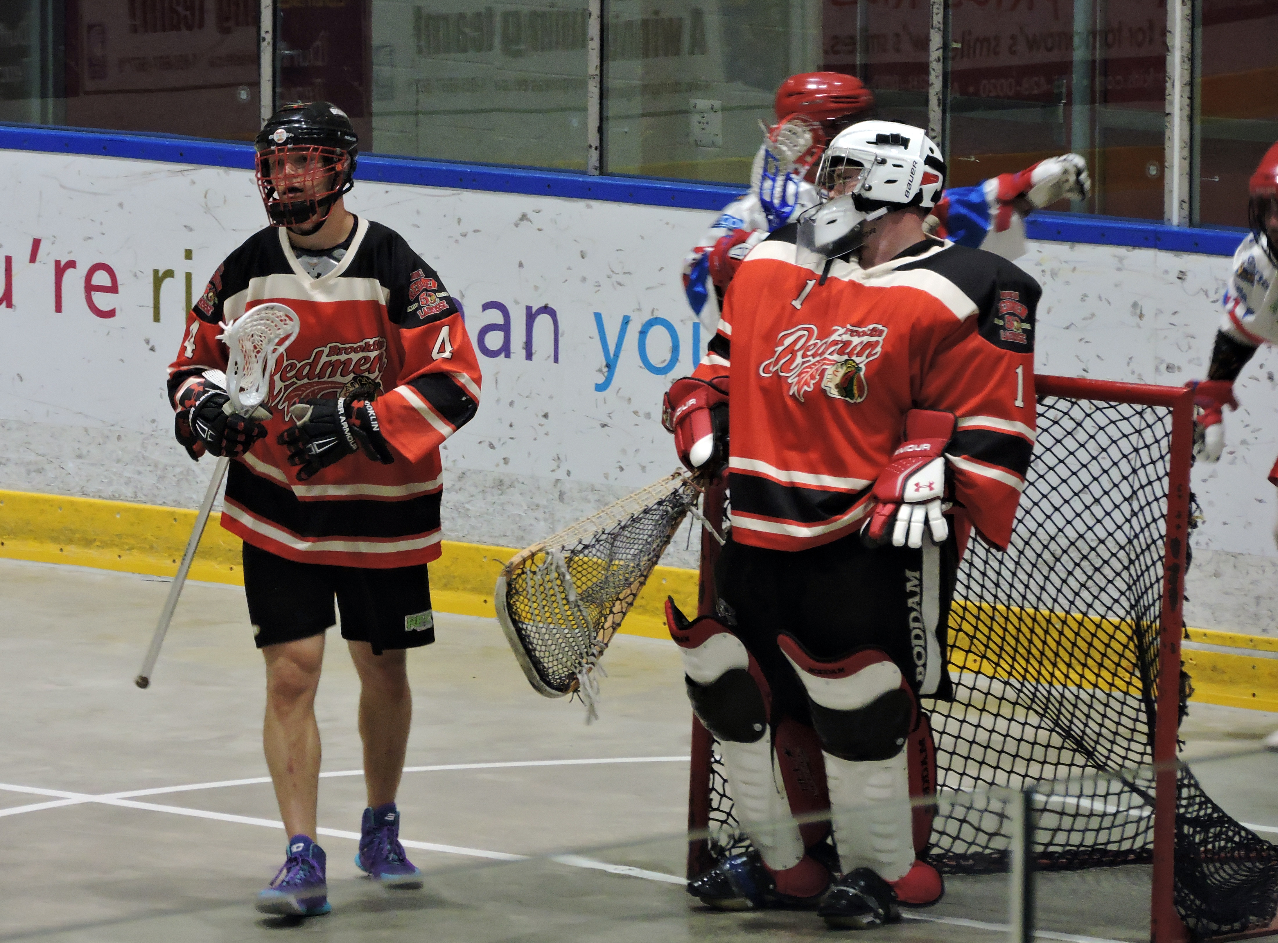 The Brooklin Redmen react to a goal scored by the Peterborough Lakers. (Photo credit: Anna Taylor)