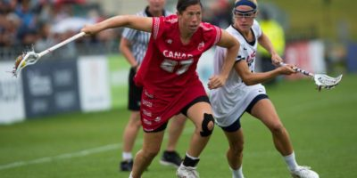 USA's Becky Block challenges with Canada's Dana Dobbie during the World Cup Final at the 2017 FIL Rathbones Women's Lacrosse World Cup, at Surrey Sports Park, Guildford, Surrey, UK, 22nd July 2017. (Credit Ady Kerry).