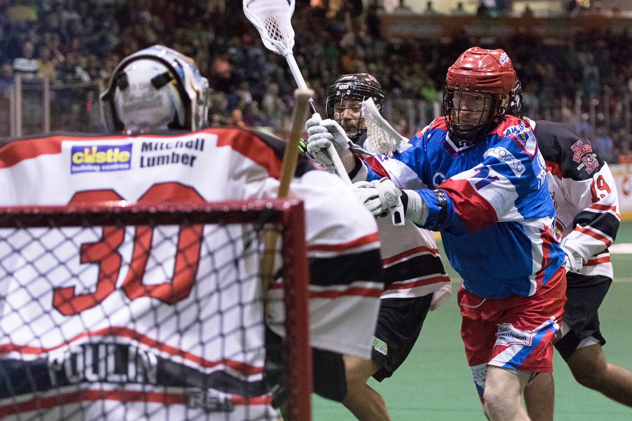 Curtis Dickson of the Peterborough Lakers takes a shot on Mike Poulin of the Brooklin Redmen on July 13, 2017 at the Peterborough Memorial Centre. (Photo credit: Ryan Nolan)