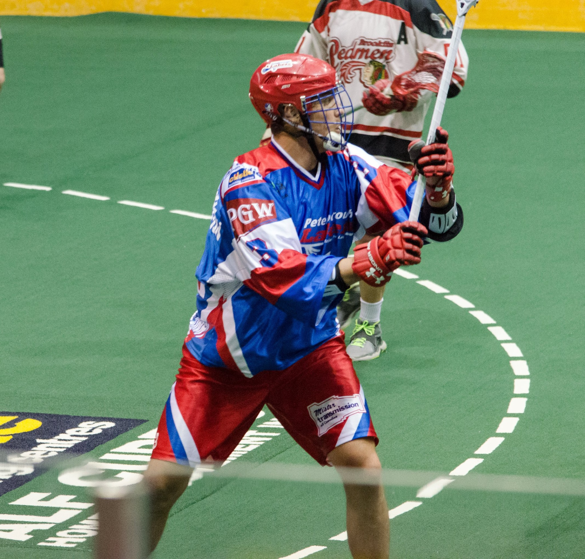 Brock Sorensen of the Peterborough Lakers in action against the Brooklin Redmen. (Photo credit: Kendall Taylor)