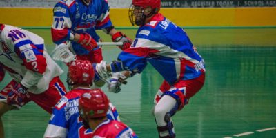 Brock Sorensen of the Peterborough Lakers defends against the New Westminster Salmonbellies in the 2017 Mann Cup. (Photo credit: Kendall Taylor)