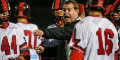 Team Canada's offensive coordinator Matt Brown gives directions to his players during the 2016 FIL U19 Men's Lacrosse World Championship in Coquitlam, B.C. He will rejoin the national team as they look to defend their senior men's world championship title. (Photo Credit: Paul Yates, Vancouver Sports Pictures)