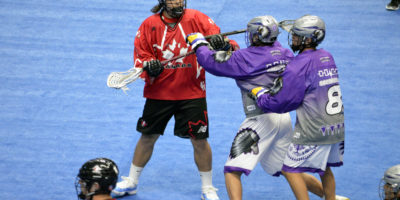 Roman Smoot of Team Canada battles against Team Haudenosaunee during the 2017 U17 Heritage Cup in Hamilton, Ont. (Photo credit: Anna Taylor)