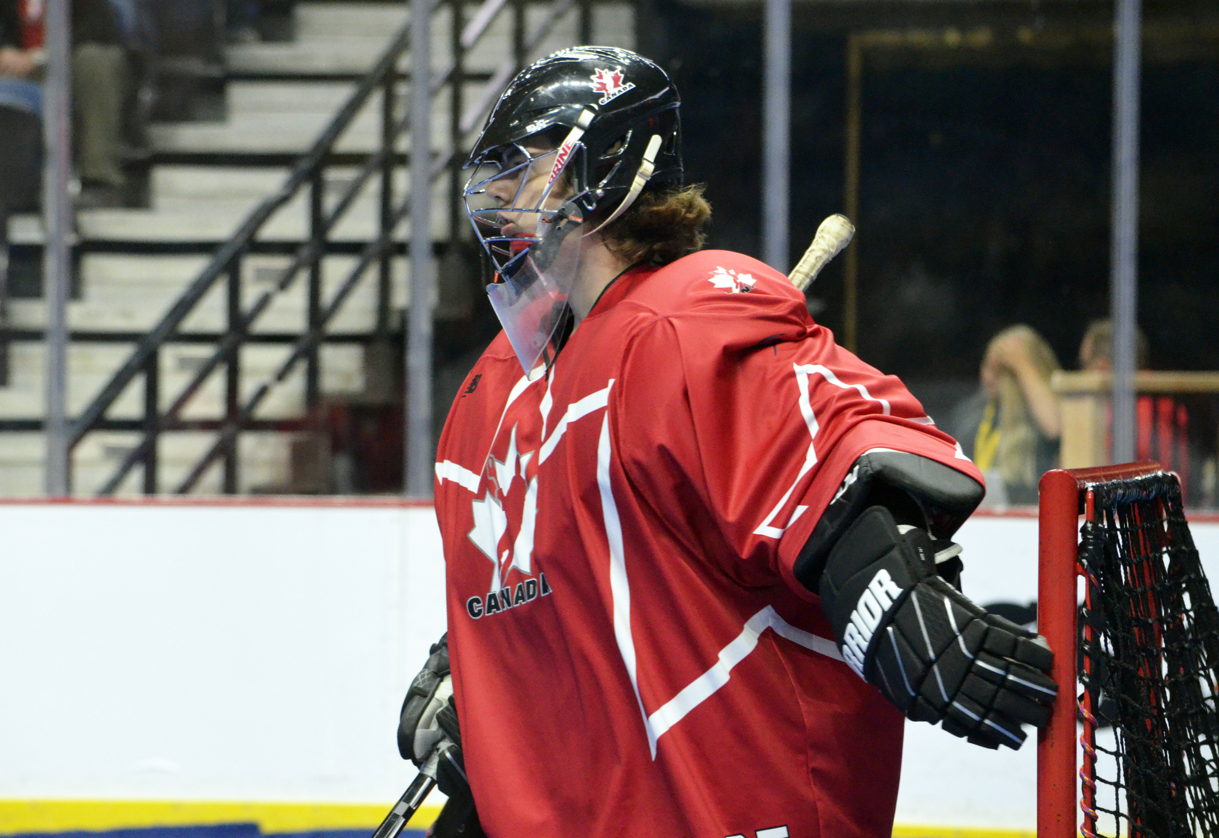 Team Canada goaltender Samuel Haines at the 2017 U17 Heritage Cup in Hamilton, Ont. (Photo credit: Anna Taylor)